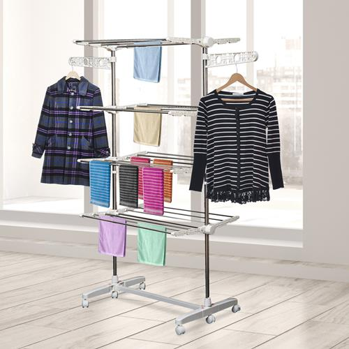 HomCom Rolling Foldable Clothes Drying Rack HeavyDuty Laundry Rack Towel  Holder White/Silver - Online Only