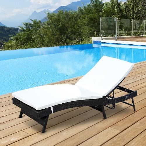 Outsunny Rattan Wicker Sun Lounger Recliner Chair Outdoor/Patio Garden Sofa  Furniture With Cushion