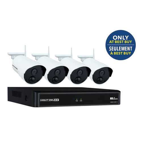 night owl wireless 4 ch 1tb nvr security system with 4 bullet 1080p cameras white only at best buy security camera systems best buy canada - Nvr Security System