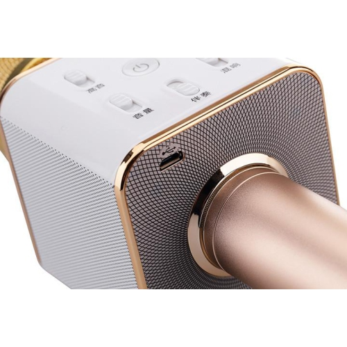 100% Genuine Tuxun Q7 Wireless Bluetooth Microphone Speaker Karaoke Gold