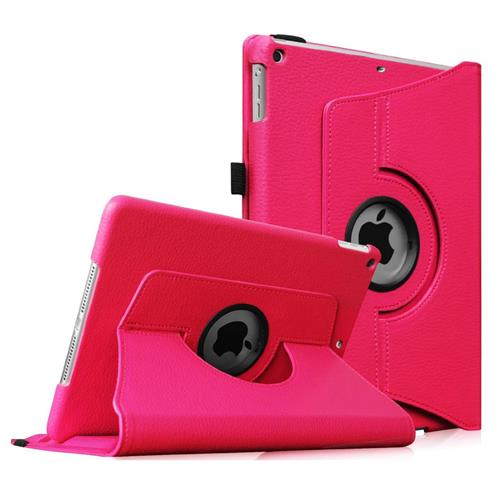 "Exian iPad Pro 12.9"" PU Leather Rotatable Flip Case with Stand Pink"