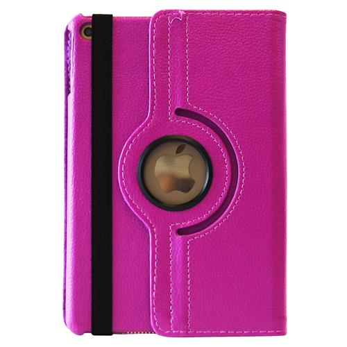 Exian iPad Mini 4 PU Leather Rotatable Flip Case with Stand Pink