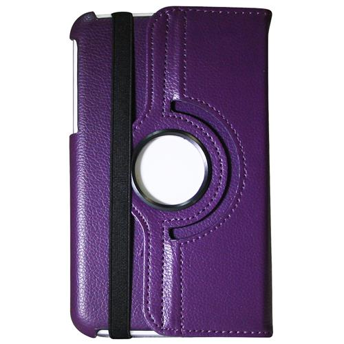 "Exian Samsung Galaxy Tab 3 7"" PU Leather Rotatable Flip Case with Stand Purple"