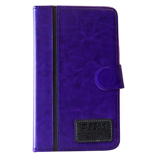 "Exian Samsung Galaxy Tab 3 7"" PU Leather Flip Case with Pockets and Stand Purple"
