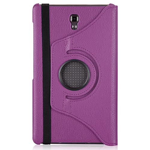 "Exian Samsung Galaxy Tab S 8.4"" PU Leather Rotatable Flip Case with Stand Purple"