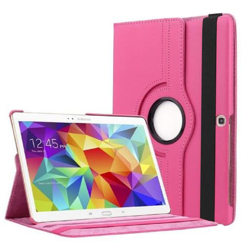 "Exian Samsung Galaxy Tab S 10.5"" PU Leather Rotatable Flip Case with Stand Pink"