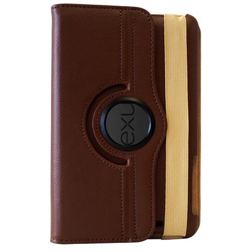 Exian Google Nexus 7 2012 PU Leather Rotatable Flip Case with Stand Brown