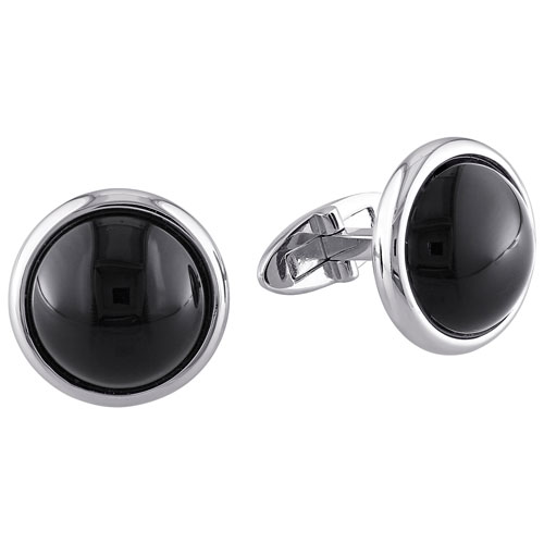 Sterling Silver Round Cufflinks with Black Onyx