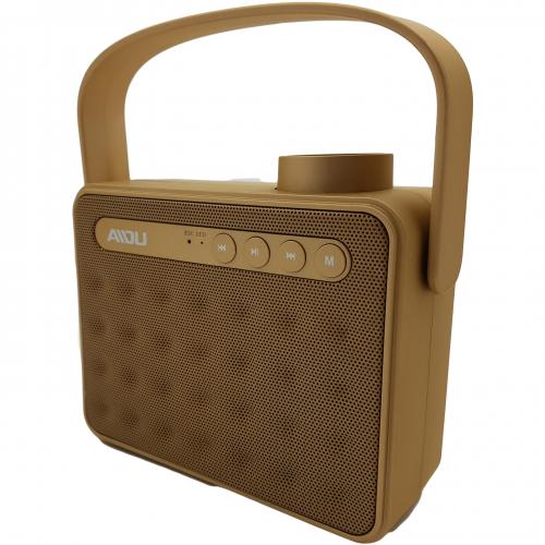 Sansui Portable Outdoor Wireless Handle Dual Subwoofers AY827 Bluetooth Sansui Speaker-Gold