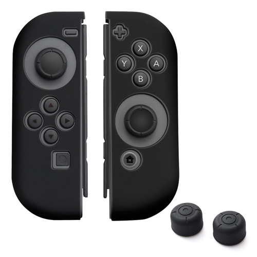 Insten Joy-Con Silicone Skin Case Cover + Thumb Grip Stick Caps For Nintendo Switch, Black Style2
