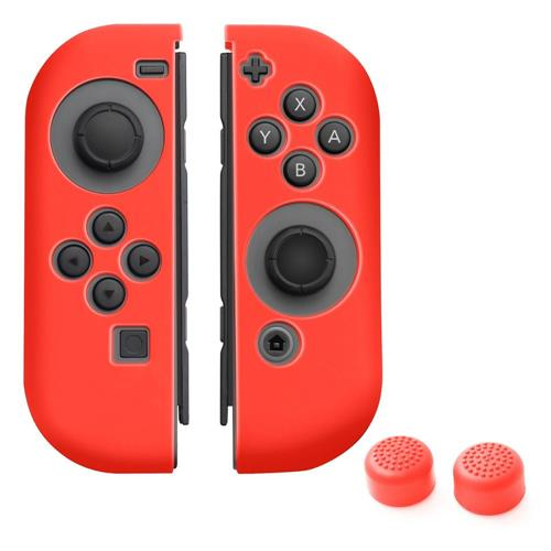 Insten Joy-Con Silicone Skin Case Cover + Thumb Grip Stick Caps For Nintendo Switch, Red