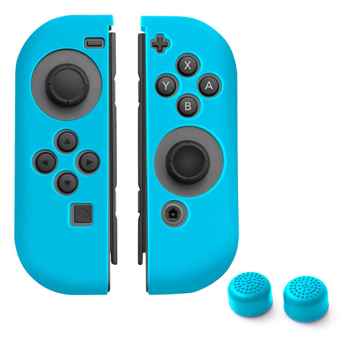 Insten Joy-Con Silicone Skin Case Cover + Thumb Grip Stick Caps For Nintendo Switch, Blue