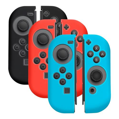 Insten [3 Pairs] Silicone Skin Case Cover For Nintendo Switch Joy-Con Controllers, Black/Red/Blue