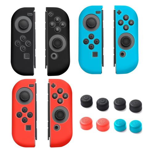 Insten [3 Pairs] Skin Case + [4 Pairs] Thumb Stick Caps For Nintendo Switch Joy-Con, Black/Red/Blue
