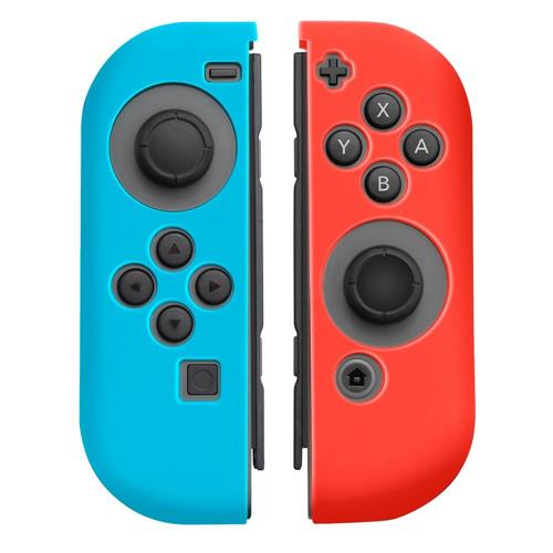 Insten 1 Pair Silicone Skin Cover Case For Nintendo Switch Jon-Con Left&Right Controllers, Blue/Red