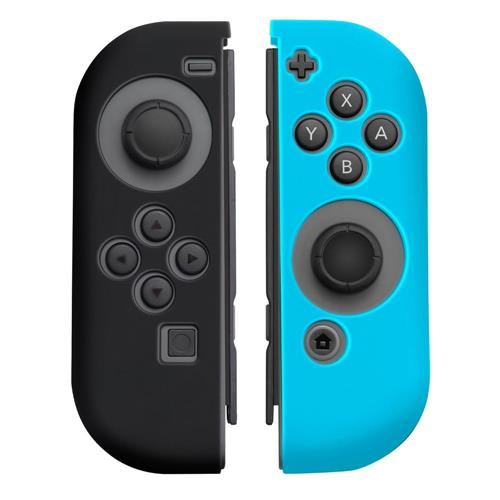 Insten 1Pair Silicone Skin Cover Case For Nintendo Switch Joy-Con Left&Right Controllers, Black/Blue