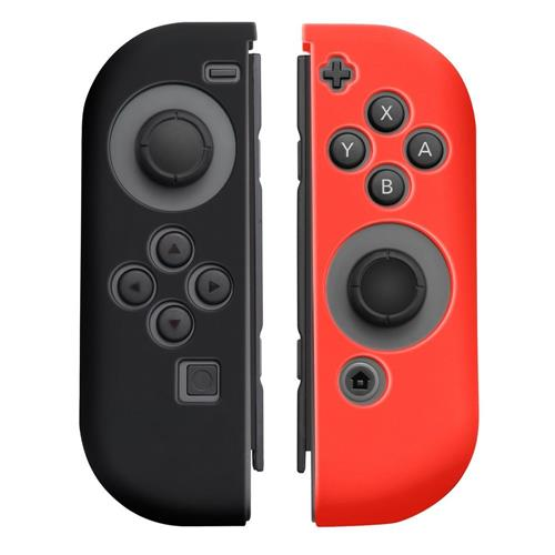 Insten 1 Pair Silicone Skin Cover Case For Nintendo Switch Joy-Con Left&Right Controllers, Black/Red