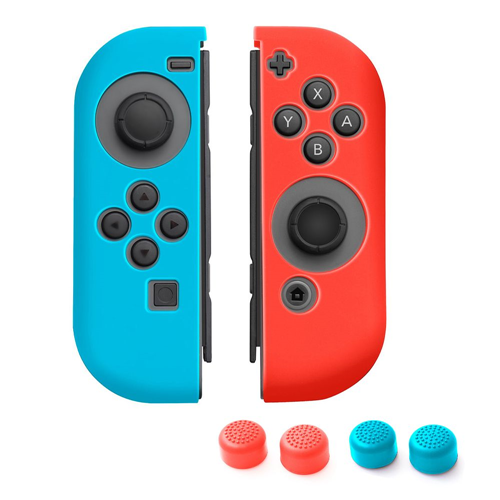 Insten 1 Pair Silicone Skin Cover Case + 4pcs Thumb Stick Caps For Nintendo Switch Jon-Con, Blue/Red