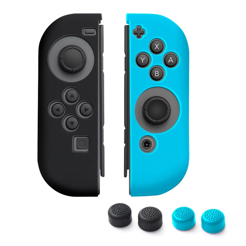 Insten 1 Pair Silicone Skin Case + 4-Pcs Thumb Stick Caps For Nintendo Switch Jon-Con, Black/Blue