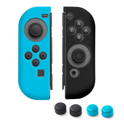 Insten 1 Pair Silicone Skin Case + 4-Pcs Thumb Stick Caps For Nintendo Switch Jon-Con, Blue/Black