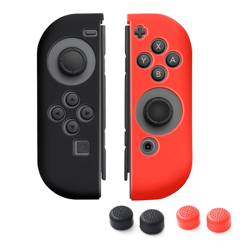 Insten 1 Pair Silicone Skin Case + 4-Pcs Thumb Stick Caps For Nintendo Switch Jon-Con, Black/Red