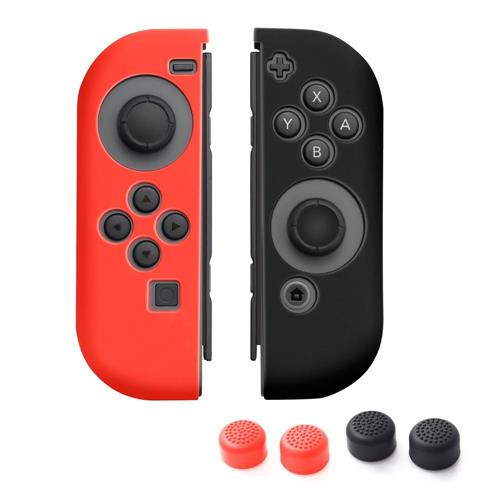 Insten 1 Pair Silicone Skin Case + 4-Pcs Thumb Stick Caps For Nintendo Switch Jon-Con, Red/Black