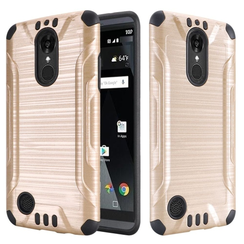 Insten Hard Dual Layer Rubberized Silicone Case For LG Aristo/K8 (2017), Gold