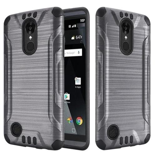 Insten Hard Dual Layer Rubber Silicone Case For LG Aristo/K8 (2017), Gray
