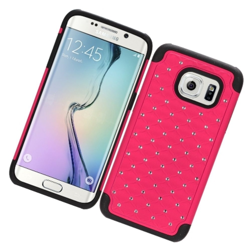 Insten Fitted Soft Shell Case for Samsung Galaxy S7 Edge - Hot Pink;Black
