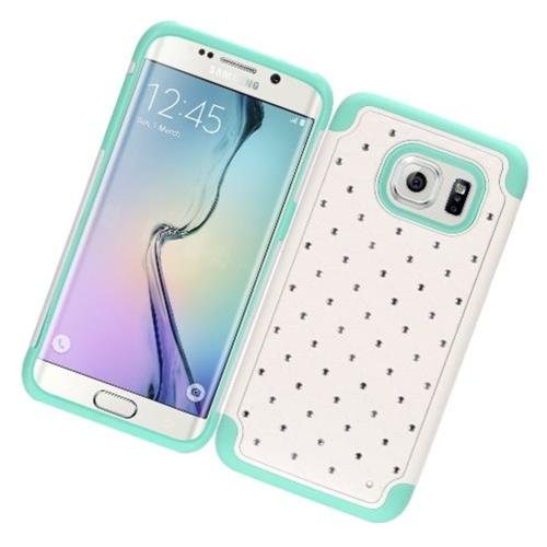Insten Hard Case w/Diamond For Samsung Galaxy S7 Edge, White/Mint Green