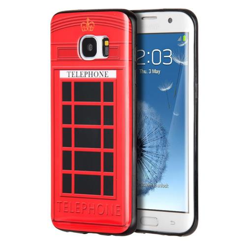 Insten Telephone Booth Gel Cover Case For Samsung Galaxy S7 Edge, Red/Black