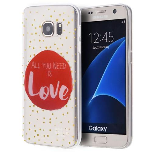 Insten Just Need Love Rubber Cover Case For Samsung Galaxy S7, Clear/Red
