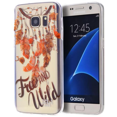 Insten Free & wild Rubber Case For Samsung Galaxy S7, Clear/Orange