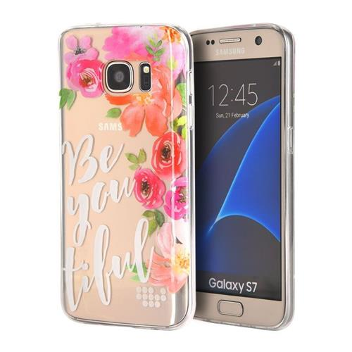 Insten BE-YOU-TIFUL Gel Cover Case For Samsung Galaxy S7, Pink/White