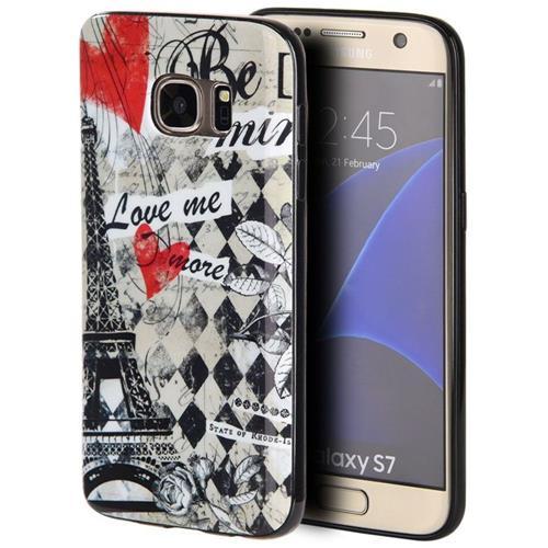 Insten Paris Rubber Case For Samsung Galaxy S7, Black/Red