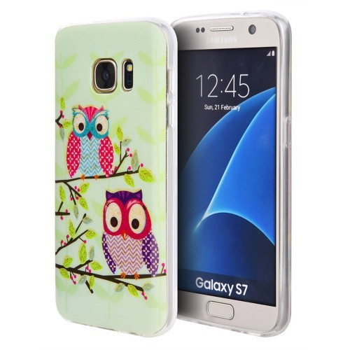 Insten Owl TPU Cover Case For Samsung Galaxy S7, Green/Pink