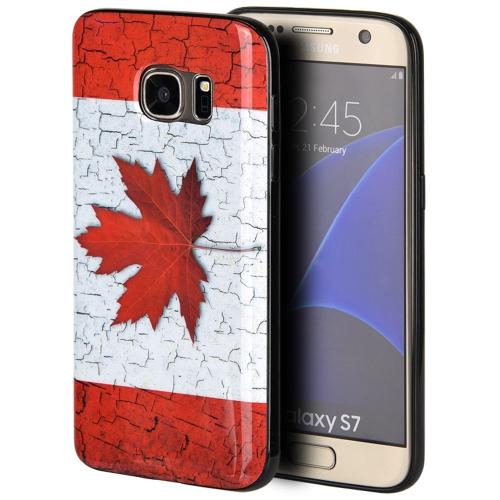 Insten Canada Rubber Cover Case For Samsung Galaxy S7, Red/White