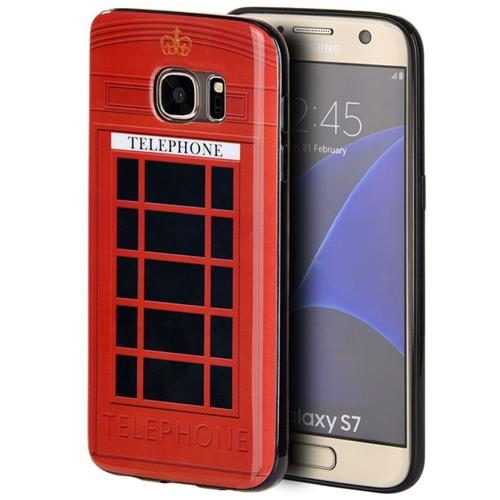Insten Telephone Booth TPU Cover Case For Samsung Galaxy S7, Red/Black