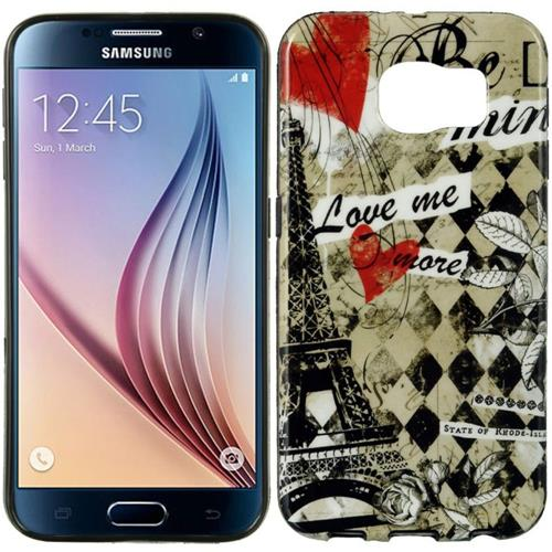 Insten Paris Gel Case For Samsung Galaxy S6, Black/Pink
