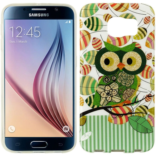 Insten Owl Rubber Cover Case For Samsung Galaxy S6, Green/White