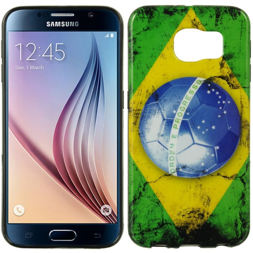 Insten Brazil TPU Cover Case For Samsung Galaxy S6, Green/Yellow