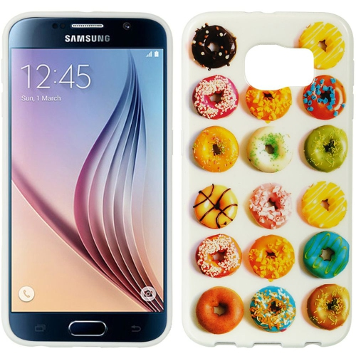 Insten Donuts Gel Case For Samsung Galaxy S6, White/Colorful