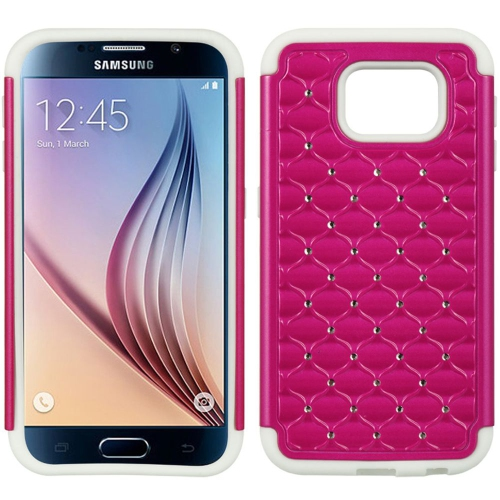 Insten Fish Scale Hard Dual Layer TPU Cover Case w/Diamond For Samsung Galaxy S6, Hot Pink/Black