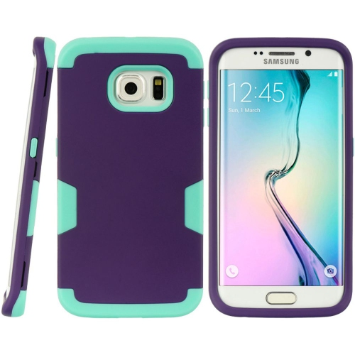 Insten Hard Hybrid TPU Cover Case For Samsung Galaxy S6 Edge, Purple/Teal
