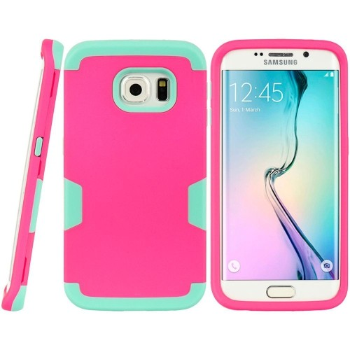 Insten Hard Dual Layer TPU Case For Samsung Galaxy S6 Edge, Hot Pink/Teal