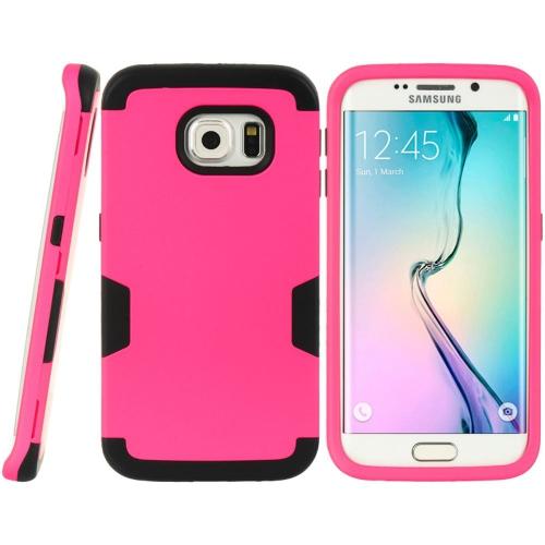 Insten Hard Hybrid TPU Case For Samsung Galaxy S6 Edge, Hot Pink/Black