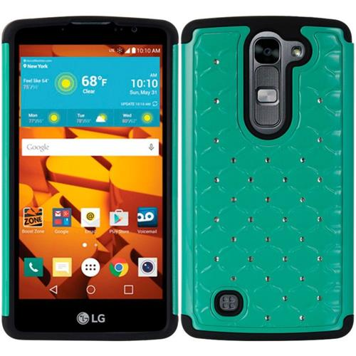 Insten Fish Scale Hard Hybrid TPU Cover Case w/Diamond For LG Volt 2, Teal/Black