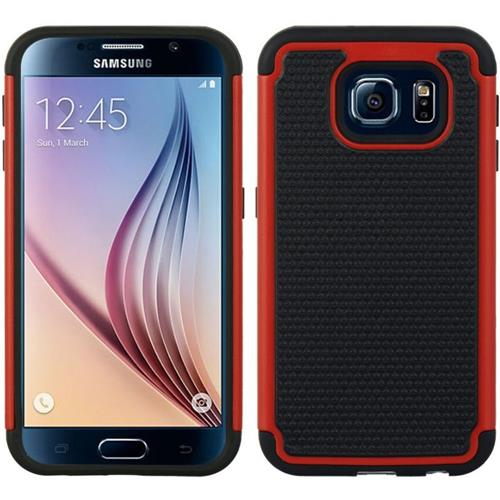 Insten Dots Hard Dual Layer TPU Cover Case For Samsung Galaxy S6, Red/Black