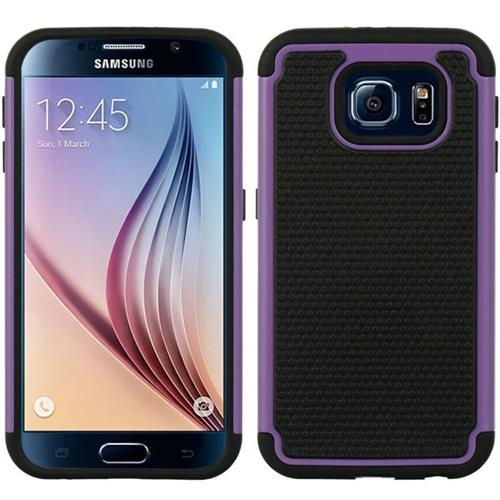 Insten Dots Hard Dual Layer TPU Case For Samsung Galaxy S6, Purple/Black