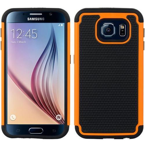 Insten Dots Hard Dual Layer TPU Cover Case For Samsung Galaxy S6, Orange/Black